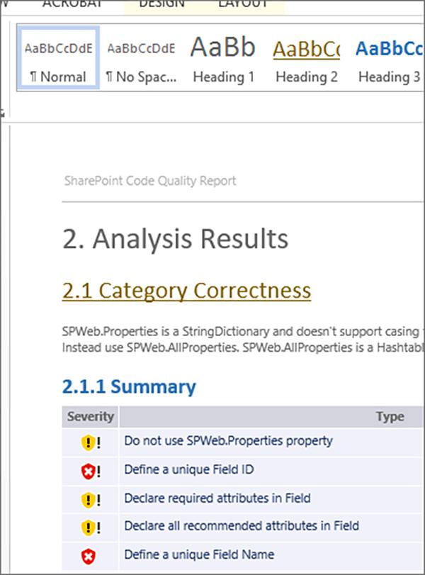 Screenshot SPCAF customizing reports