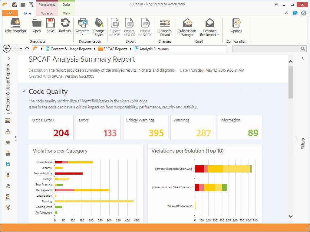 Screenshot SPCAF integration in SPDocKit