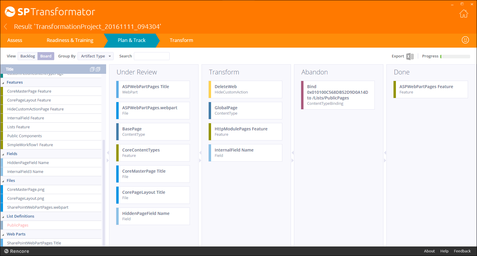 Get an overview and plan your transformation in a Kanban board