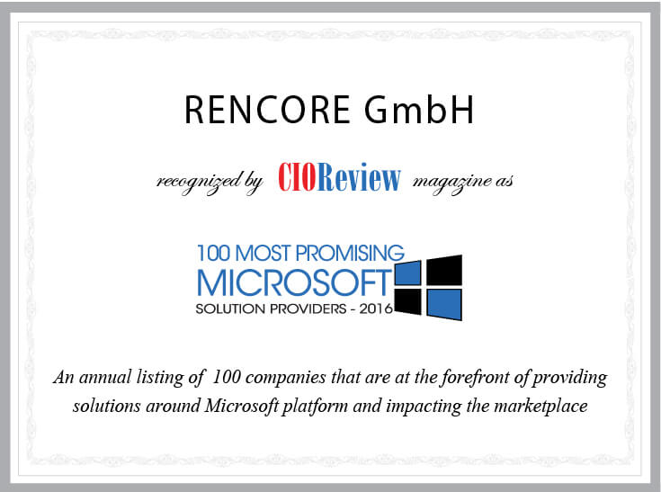 Certificate Top 100 Most Promising Microsoft Solution Providers 2016