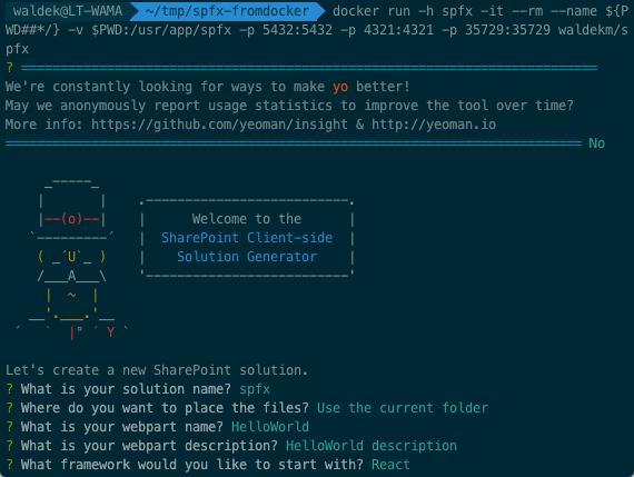 SharePoint Framework-docker-yo-sharepoint