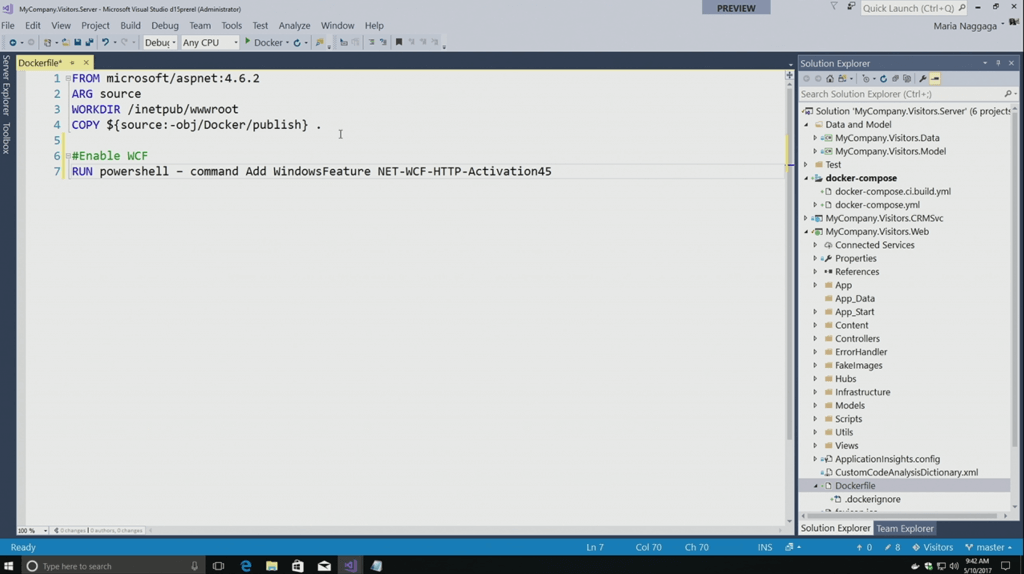 Docker support in Visual Studio