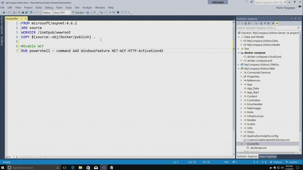Docker support in Visual Studio