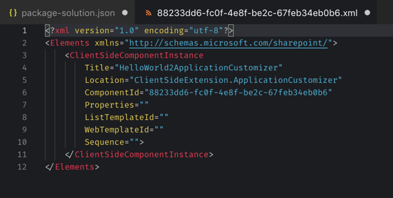 Tenant-wide deployment information in an XML file generated by the 'Rencore tenant-wide SPFx extension deployment information' extension