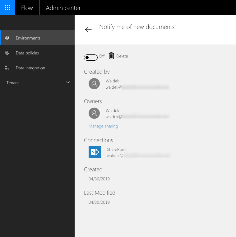 Properties of a Flow displayed in the Flow admin center