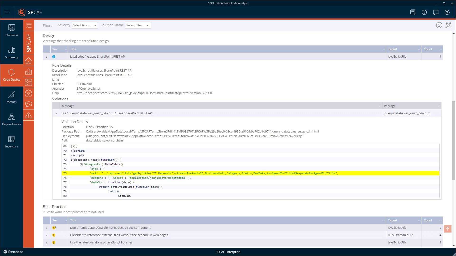 SPCAF v7.9 inline Javascript int-text
