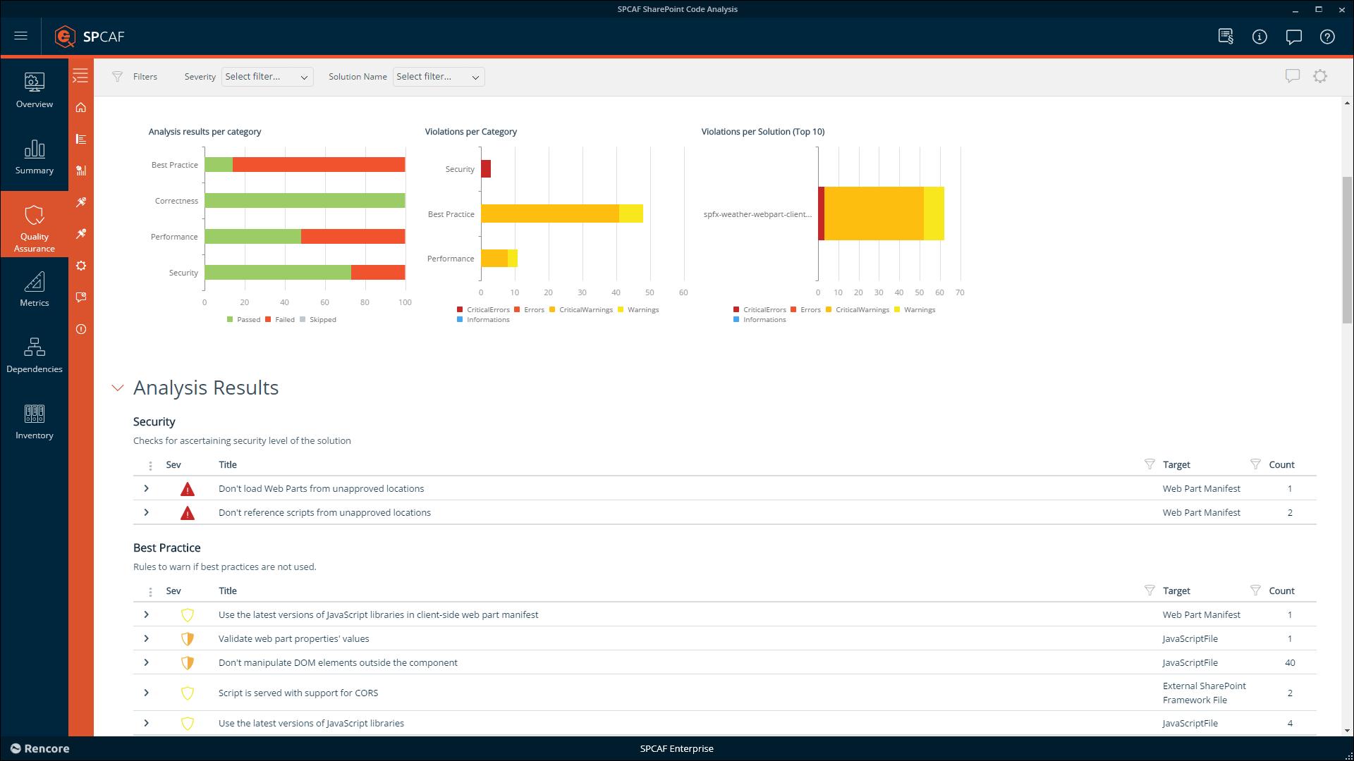 SPCAF v7.9 update SPFx Analysis